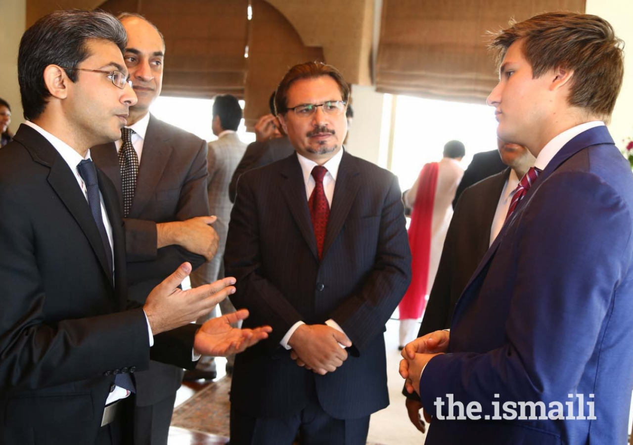 Prince Aly Muhammad in discussion with leaders of AKDN and Jamati Institutions at a reception at the Islamabad Serena Hotel
