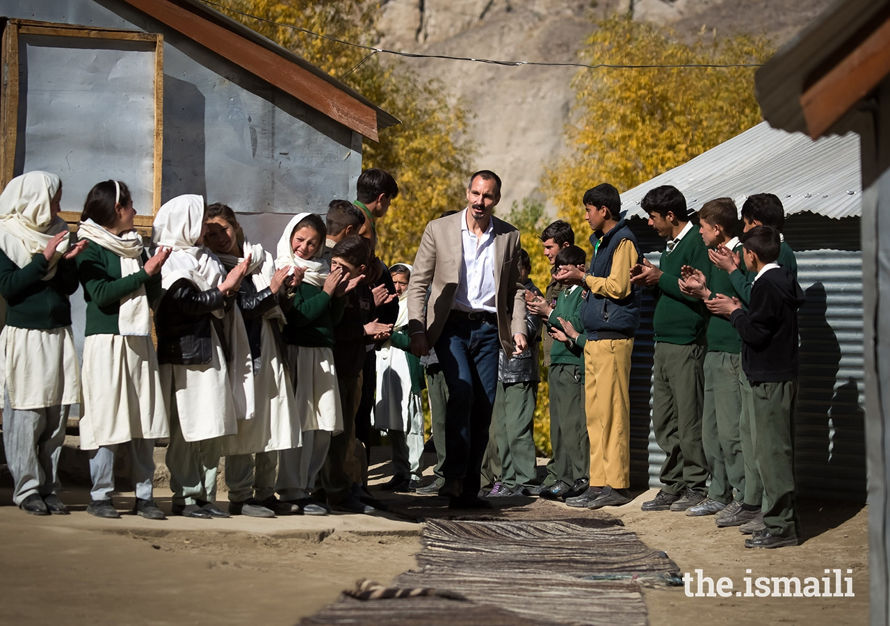Prince Rahim visiting the Diamond Jubilee Primary School Bilhanz, operated by the Aga Khan Education Services (AKES), and the adjacent community-managed middle and secondary school in the village of Bilhanz located in Immit, Ishkoman Valley, Ghizer District in Gilgit-Baltistan.
