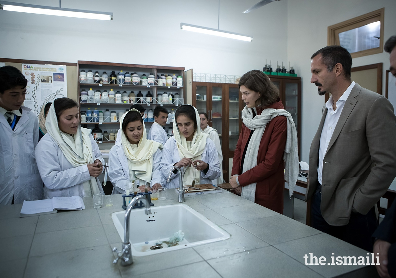 Prince Rahim and Princess Salwa with students at the Aga Khan Higher Secondary School Gahkuch located in Punial Valley, Ghizer District in Gilgit-Baltistan. The school is operated by the Aga Khan Education Services (AKES).