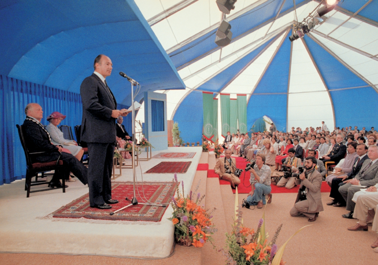 Mawlana Hazar Imam addresses the audience gathered for the Foundation Ceremony of the Ismaili Centre, Vancouver.