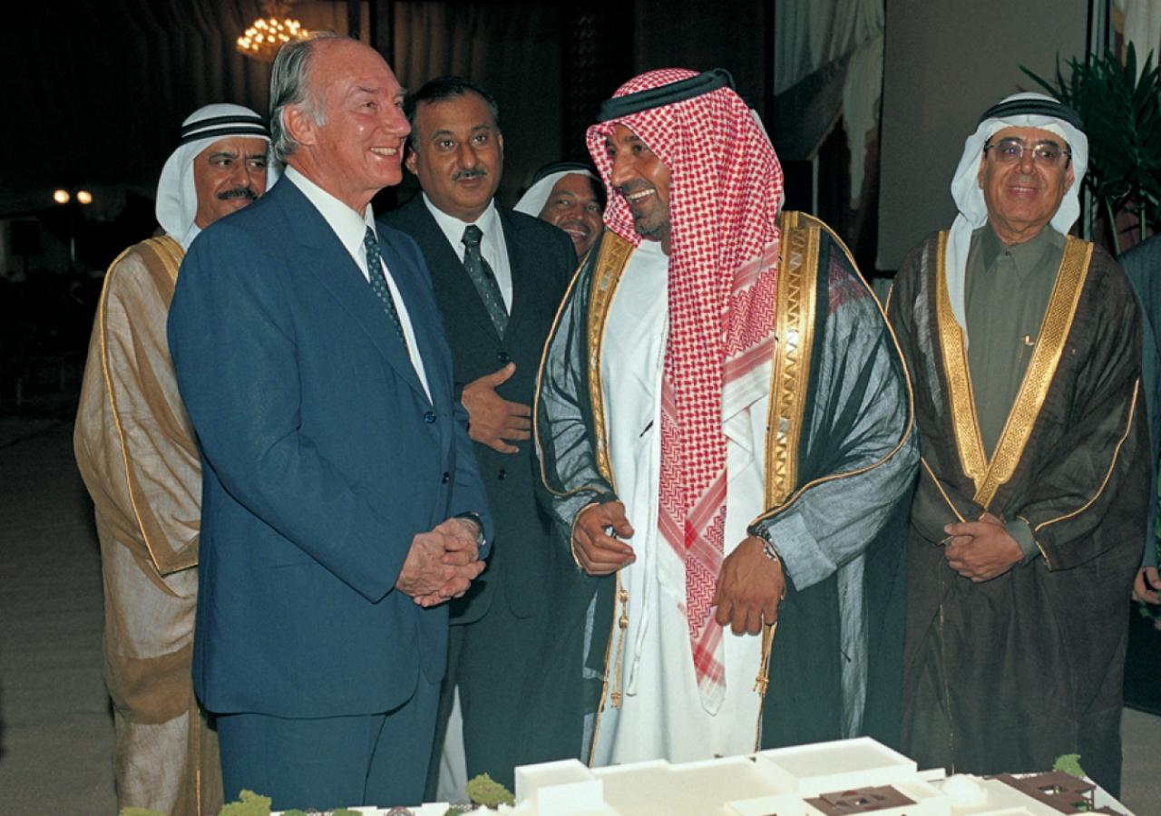 Mawlana Hazar Imam and His Highness Sheikh Ahmed Bin Saeed Al Maktoum at the Foundation Ceremony of the Ismaili Centre, Dubai.