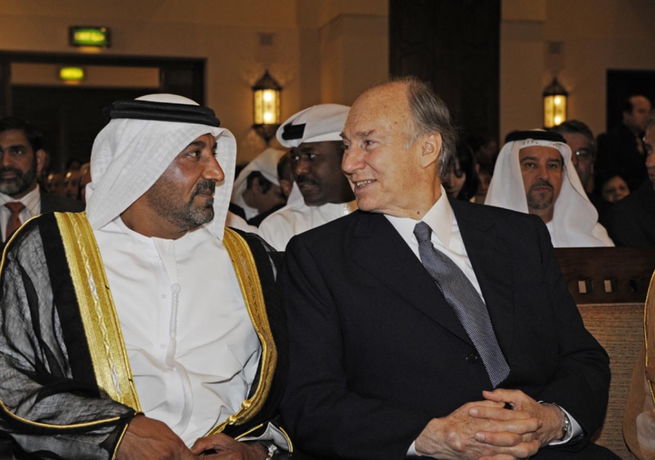 Mawlana Hazar Imam and His Highness Sheikh Ahmed bin Saeed Al Maktoum in conversation at the opening of Ismaili Centre, Dubai.