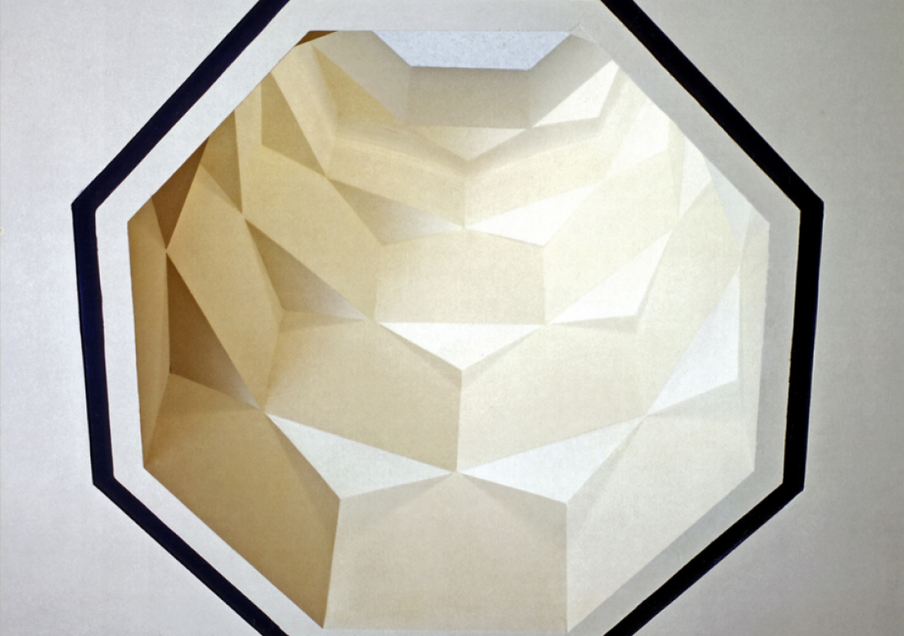 This unique skylight casts geometrical patterns on the floor below.