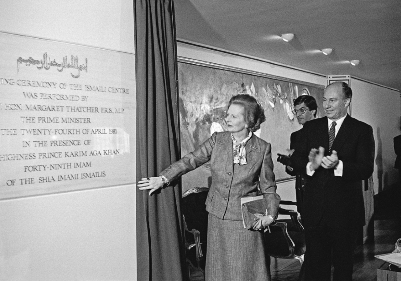 Prime Minister Margaret Thatcher officially opens the Ismaili Centre, London in the presence of Mawlana Hazar Imam.