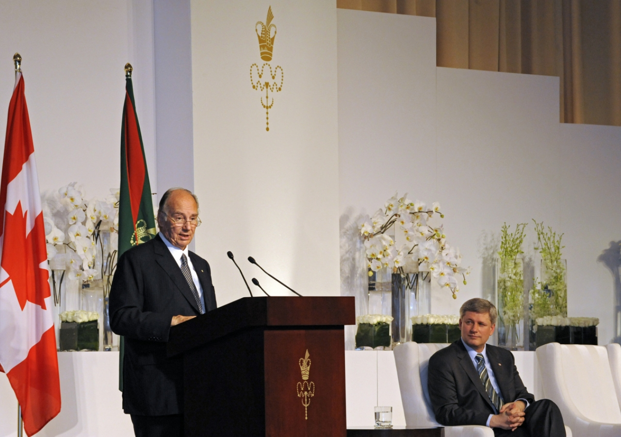 Mawlana Hazar Imam speaking at the Foundation Ceremony, where Prime Minister Stephen Harper was the chief guest.
