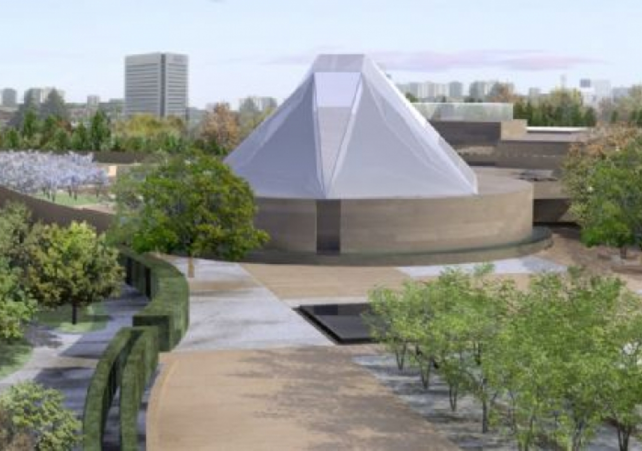 Artist rendering of the Ismaili Centre, Toronto, surrounded by its Park along Wynford Drive.
