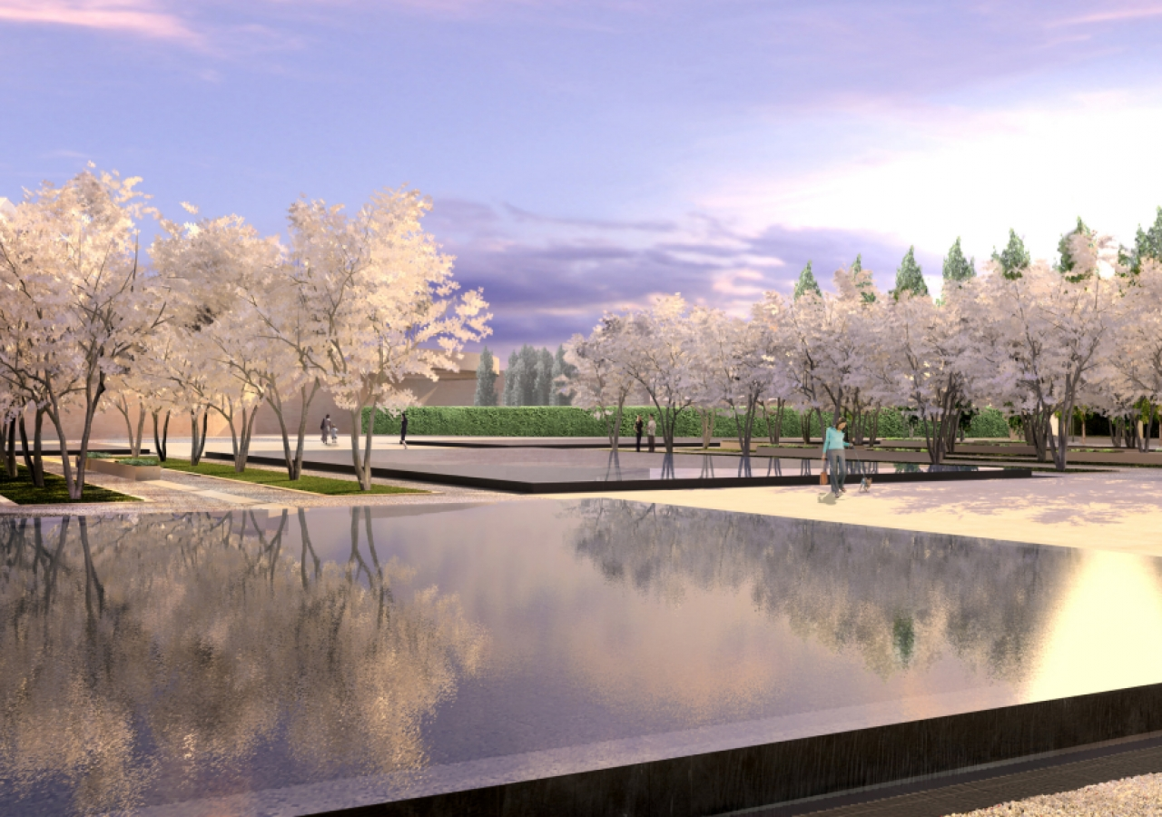 Artist rendering of the formal pools in the Park surrounding the Ismaili Centre, Toronto.