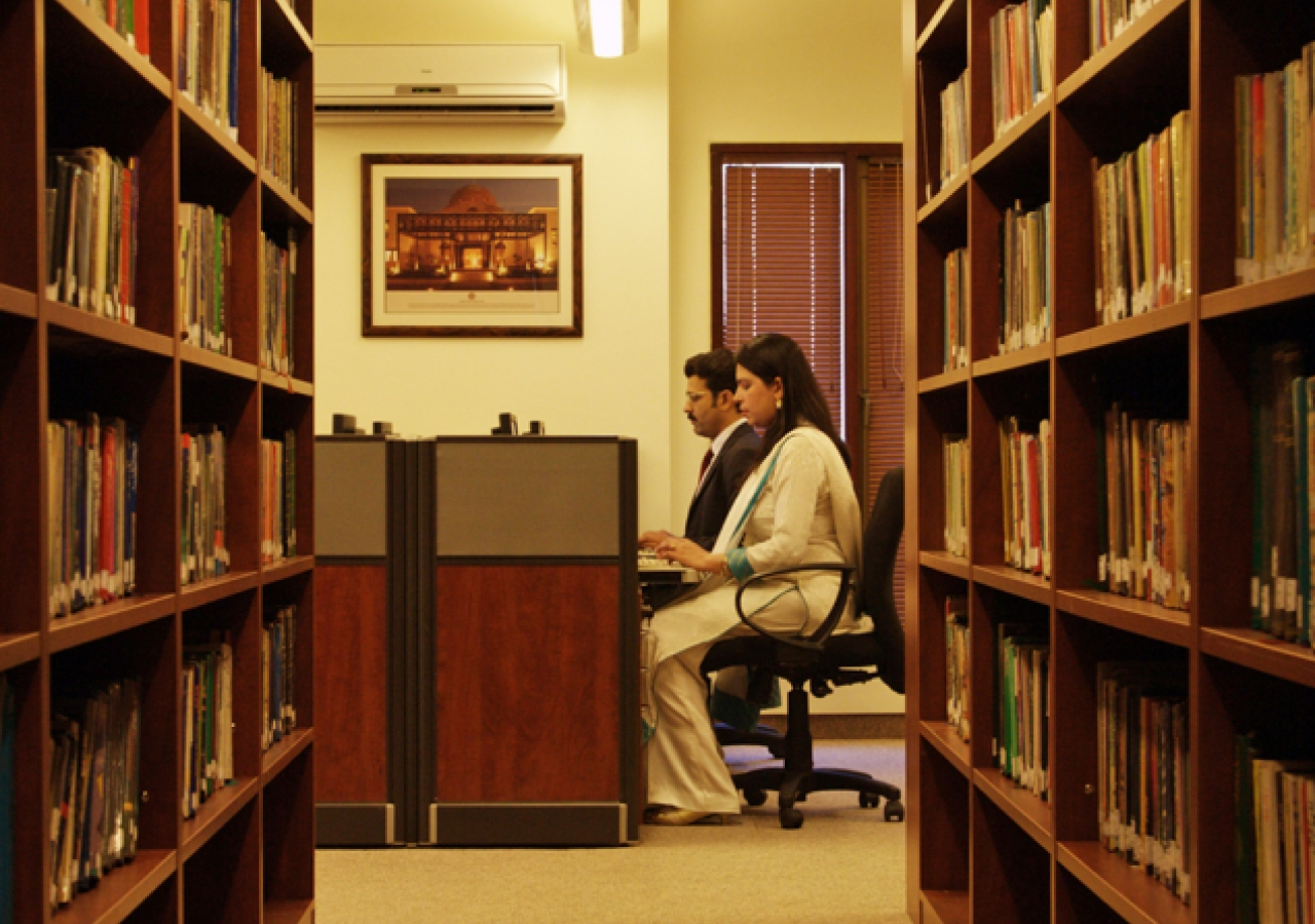 A view from inside the teacher educators and waezeen library at the Ismaili Jamatkhana Lahore.
