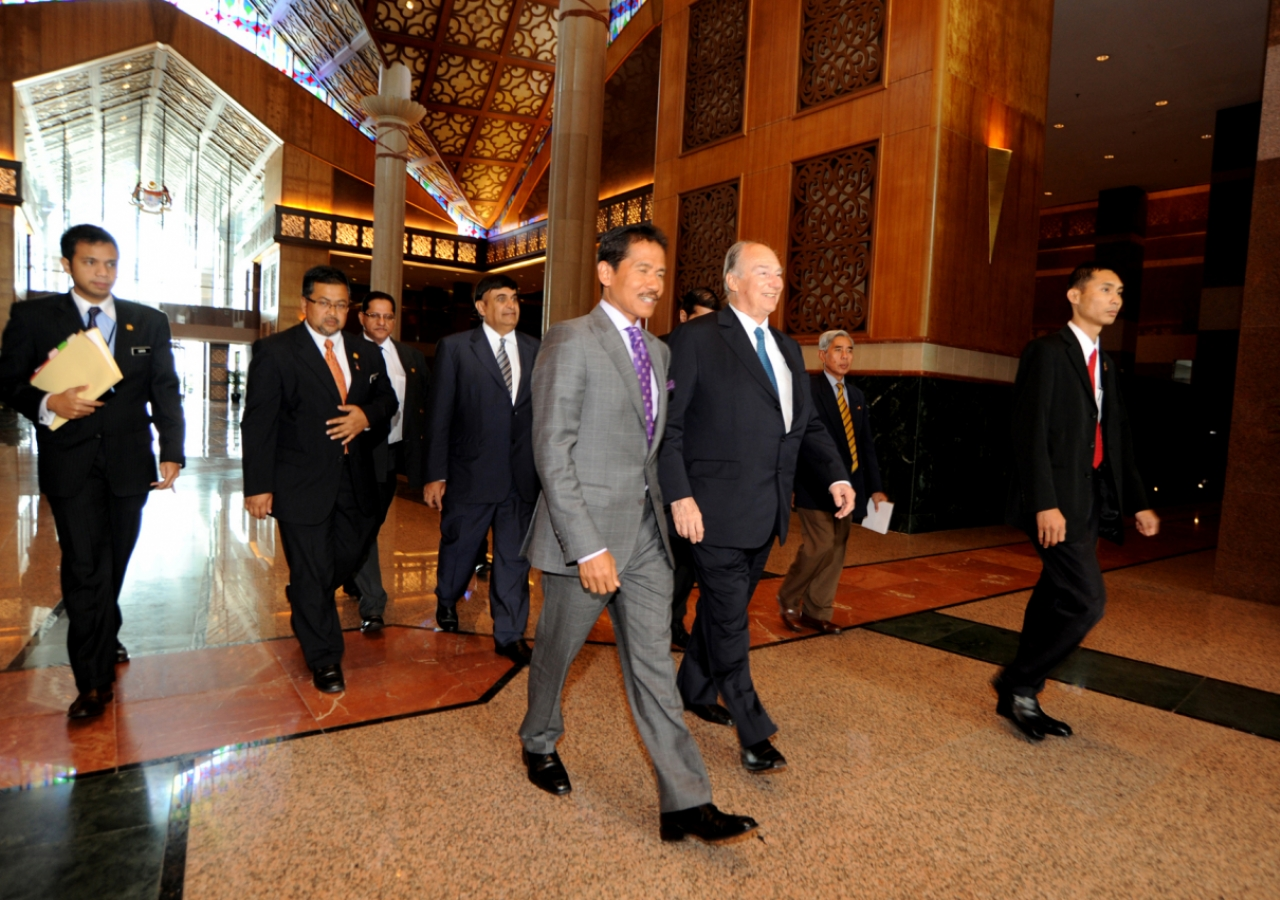 Mawlana Hazar Imam departs the VIP lounge, at Kuala Lumpur International Airport.