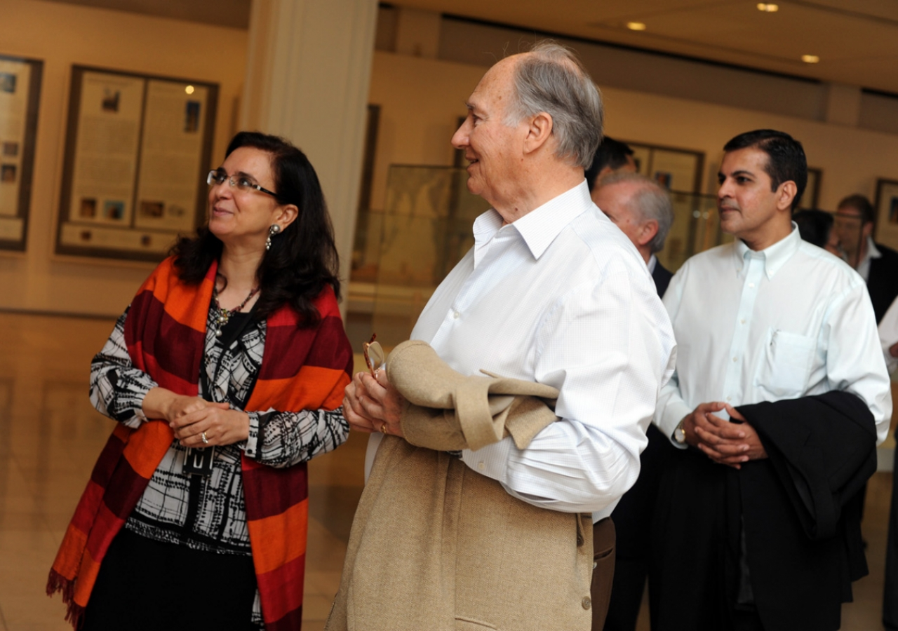 Mawlana Hazar Imam is given a tour of the permanent collection of the Islamic Arts Museum Malaysia by Dr Heba Nayel Barakat, Head of Curatorial Affairs. They are accompanied by Rai Inayat Bana, President of the Ismaili Council for the Far East.