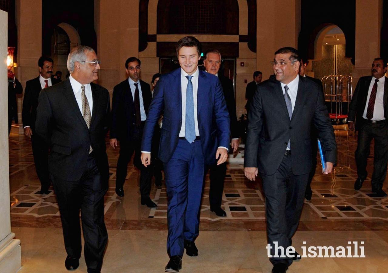 Prince Aly Muhammad with President Ismaili Council for Pakistan, Hafiz Sherali, and CEO Serena Hotels, Aziz Boolani