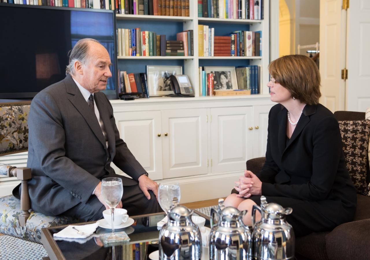 Mawlana Hazar Imam and Brown University President Christina Paxson meet at President's House.