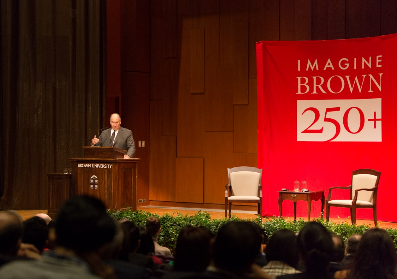 """Mawlana Hazar Imam delivered an Ogden lecture titled """"Modern governance in a more complex world: Challenges and responses"""" at Brown University."""