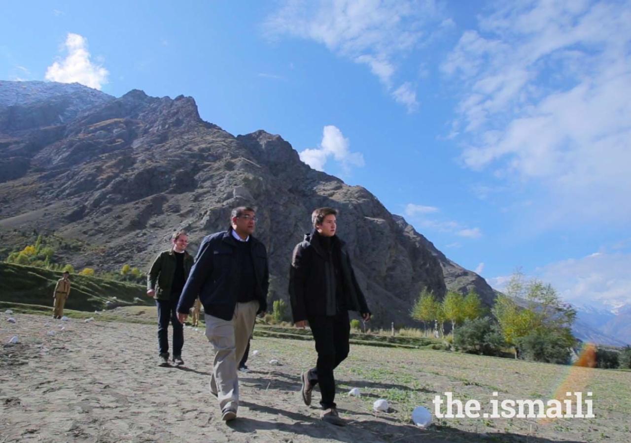 Prince Aly Muhammad visiting Badswat village with Hafiz Sherali, President, Ismaili Council for Pakistan, in Ishkoman Puniyal, Gilgit-Baltistan