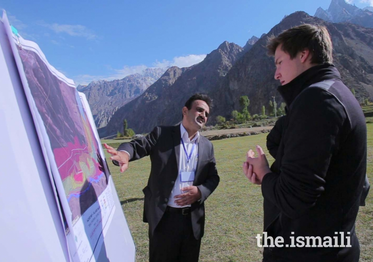 Prince Aly Muhammad is briefed about the Hazard Vulnerability Risk Assessment process in Badswat village, Ishkoman Puniyal, Gilgit-Baltistan