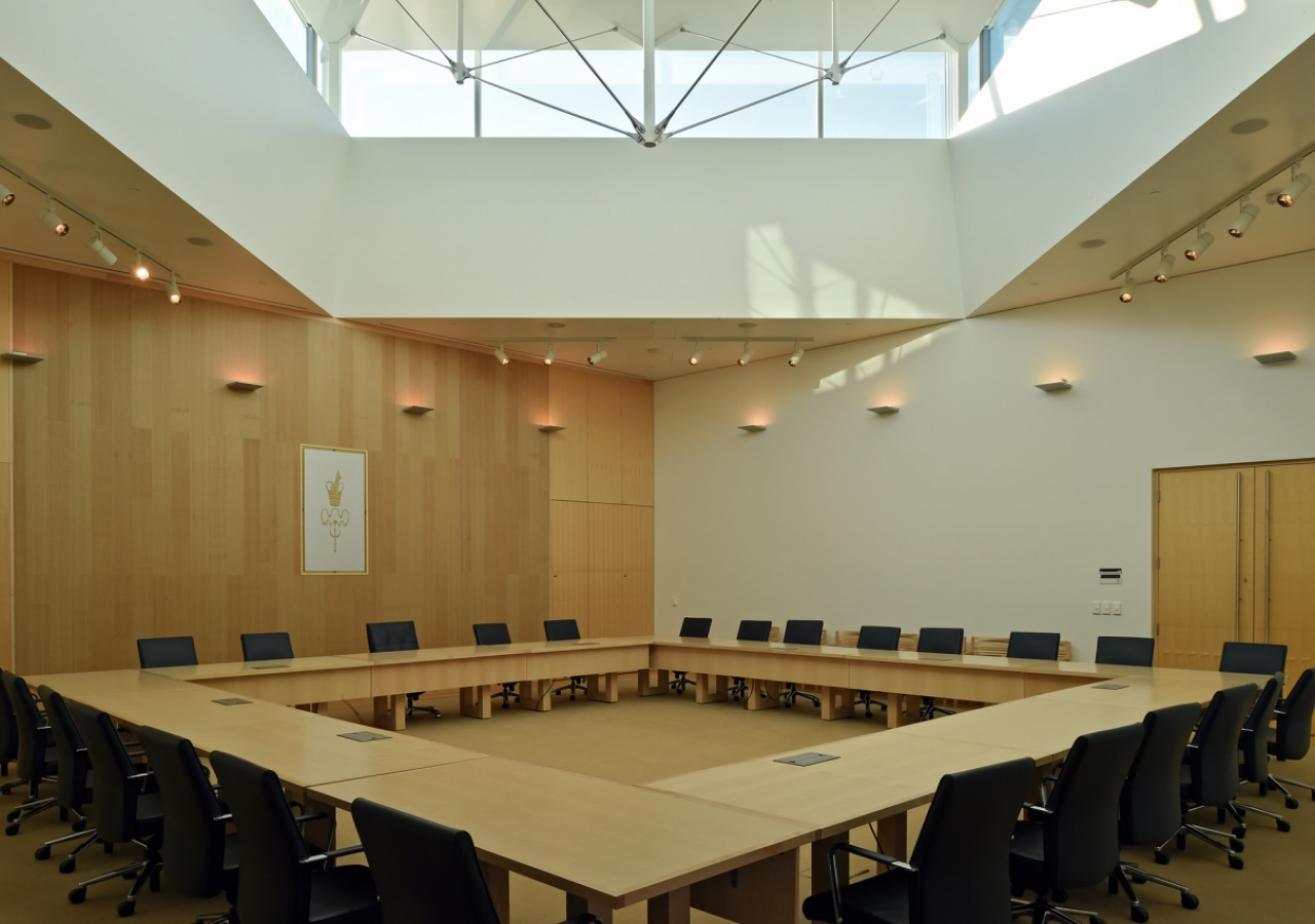 The Council Chamber, under its own skylight, is where the community's institutions meet. Gary Otte