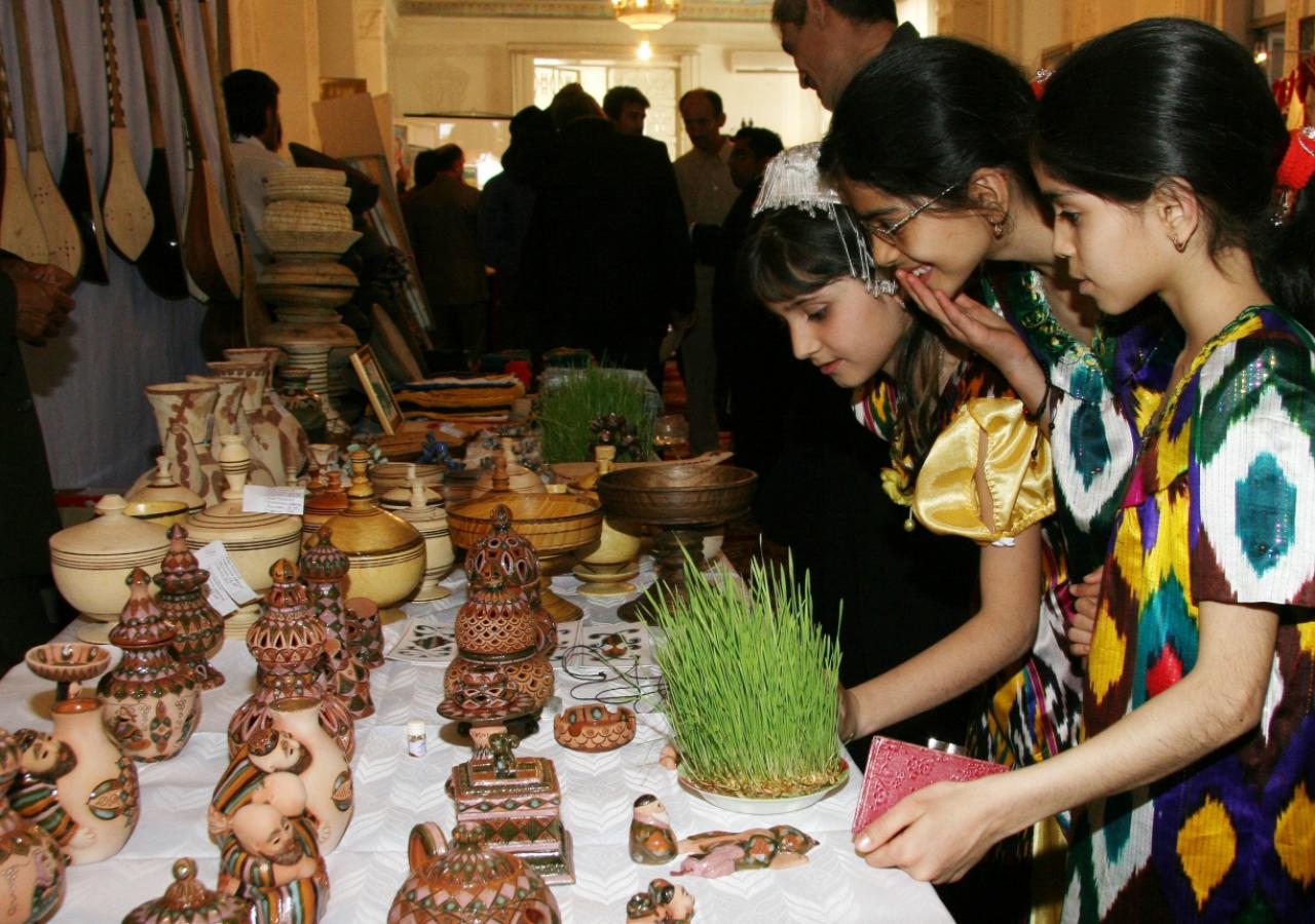 Alongside the children's artwork, professional handicraftsmen exhibited their work for purchase.