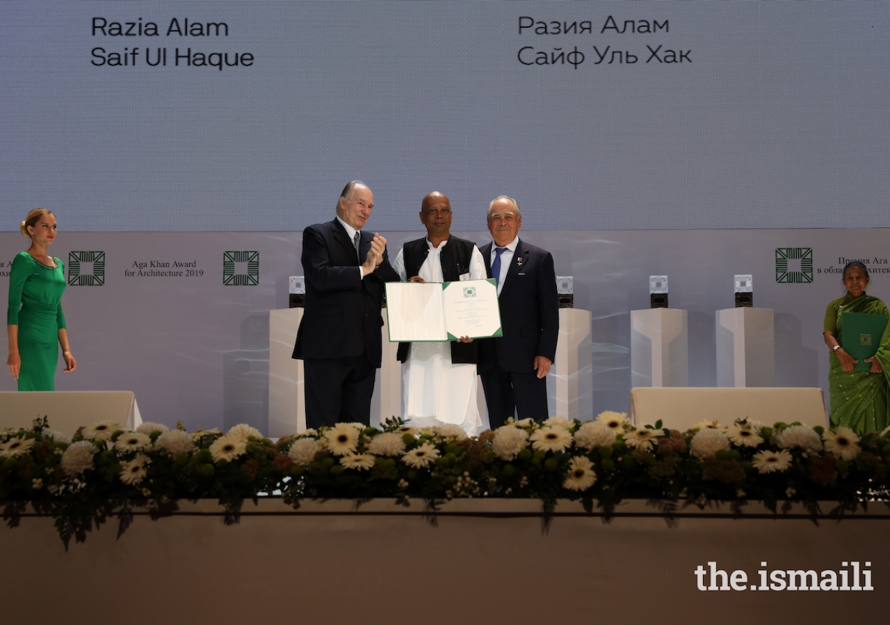 Saif Ul Haque is honoured at the Aga Khan Award for Architecture 2019 Ceremony for his work on the Arcadia Education Project in Bangladesh.