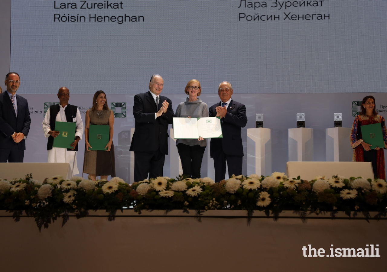 Róisín Heneghan is honoured at the Aga Khan Award for Architecture 2019 Ceremony for her work on the Palestinian Museum in Birzeit.