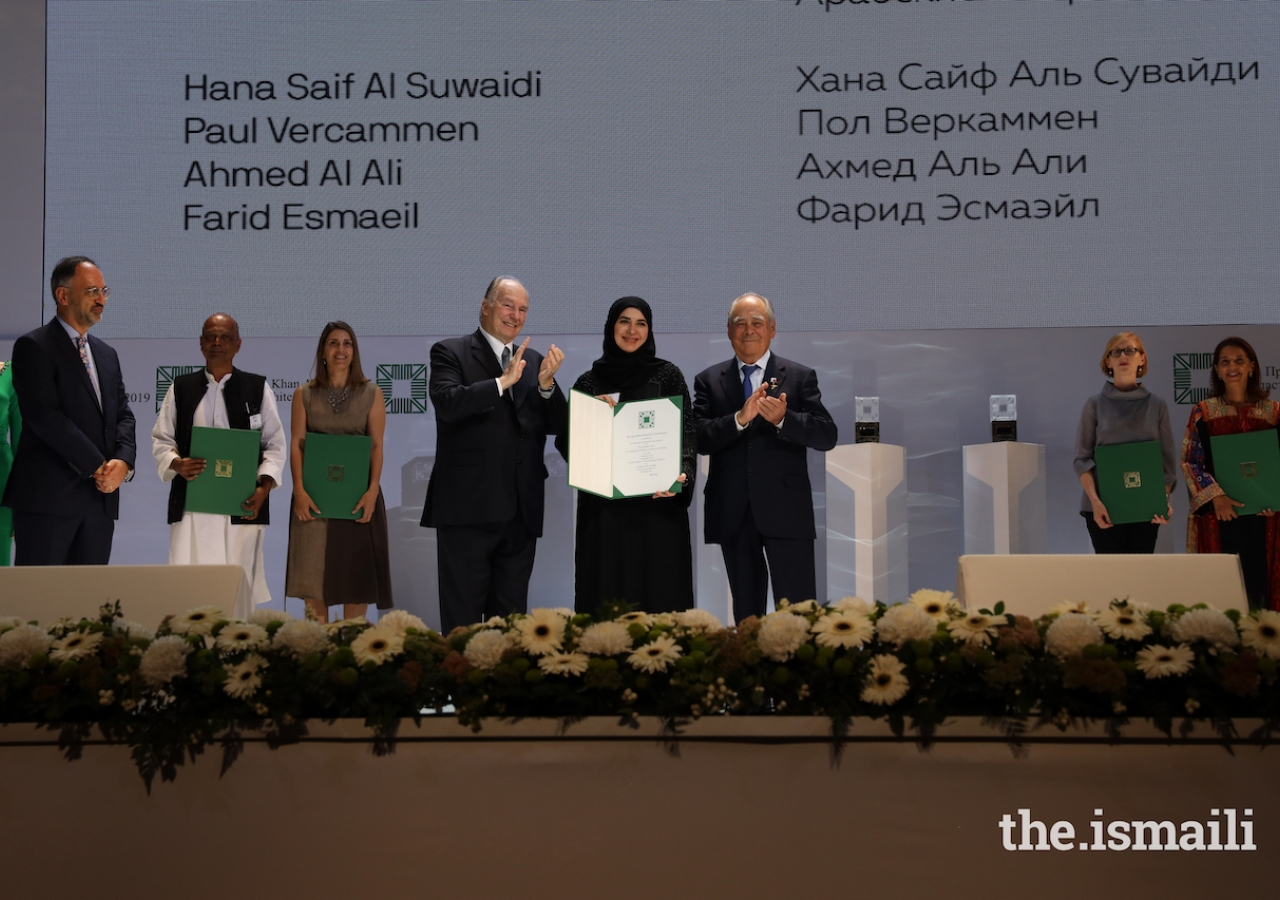 Hana Said Al Suwaidi is honoured at the Aga Khan Award for Architecture 2019 Ceremony for her work on the Wasit Wetland Centre in Sharjah, UAE.