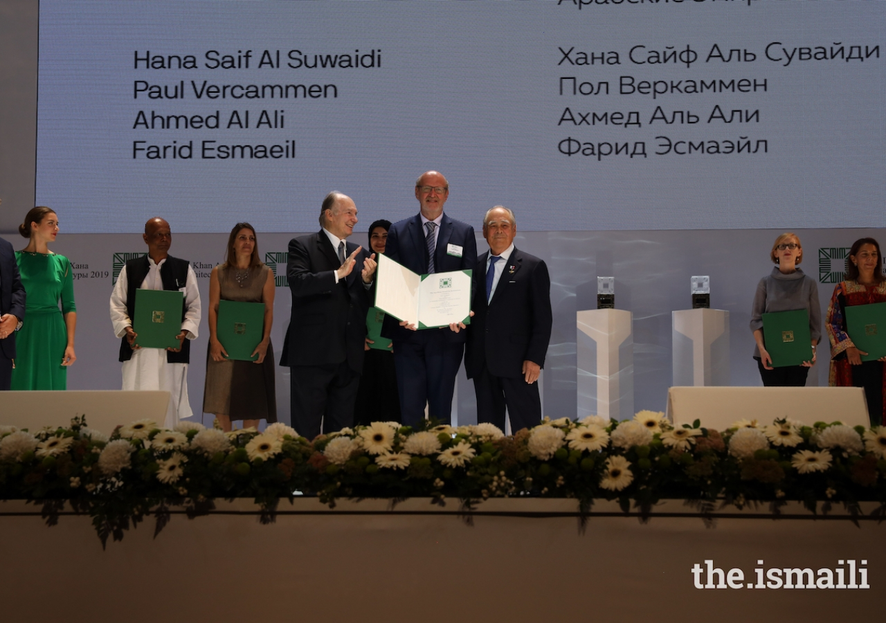 Paul Vercammen is honoured at the Aga Khan Award for Architecture 2019 Ceremony for his work on the Wasit Wetland Centre in Sharjah, UAE.