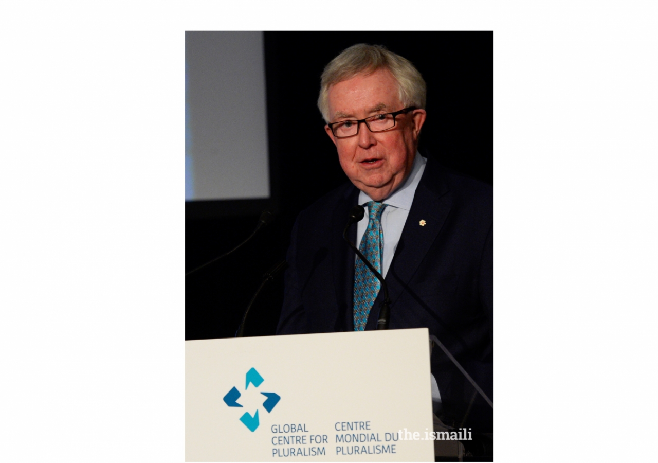 Former Prime Minister of Canada, the Rt. Honourable Joe Clark, delivers closing remarks during the Ceremony. Clark served as Chair of Award's Jury.