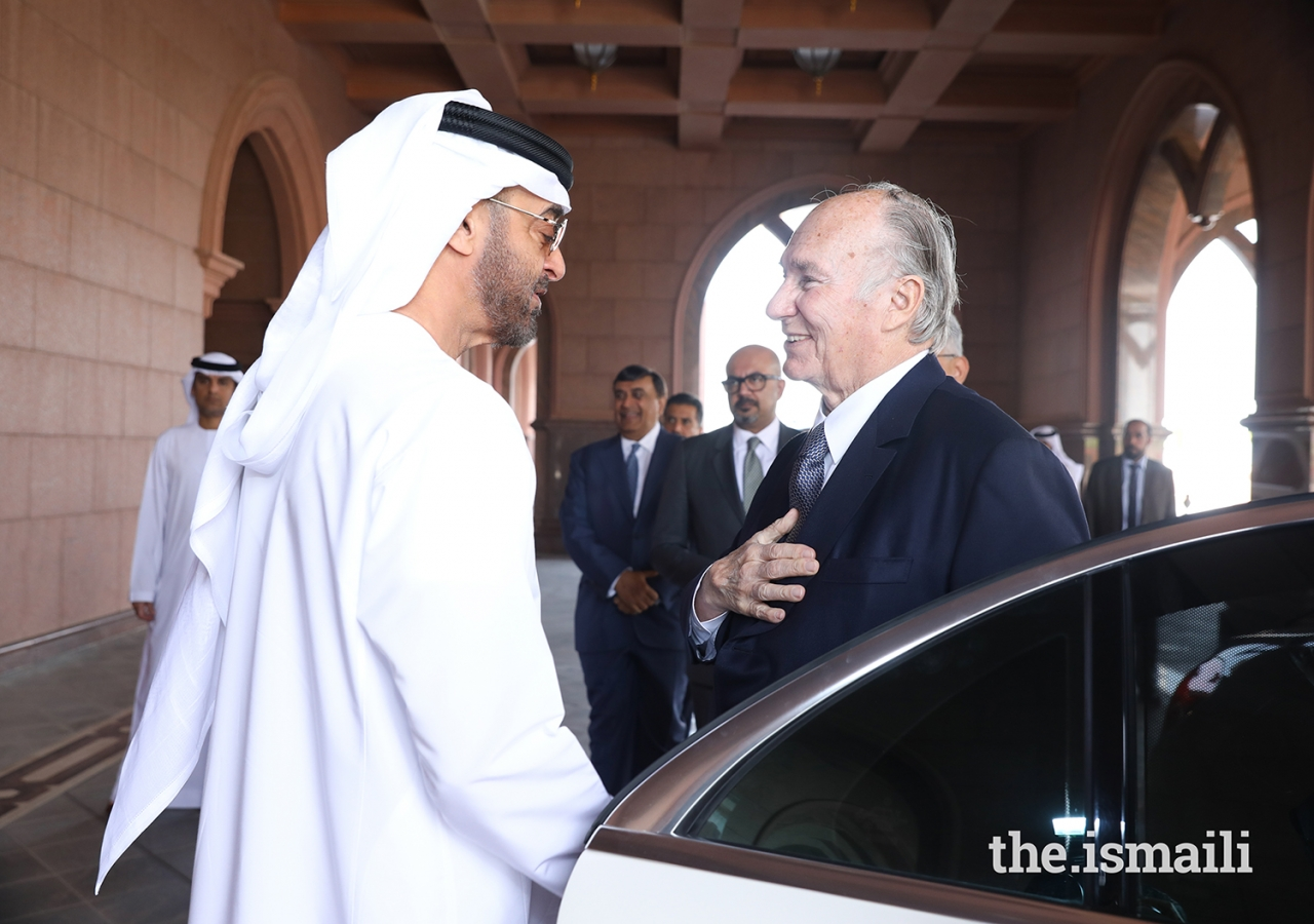 His Highness Sheikh Mohammed bin Zayed Al Nahyan bids farewell to Mawlana Hazar Imam after their meeting in Abu Dhabi.