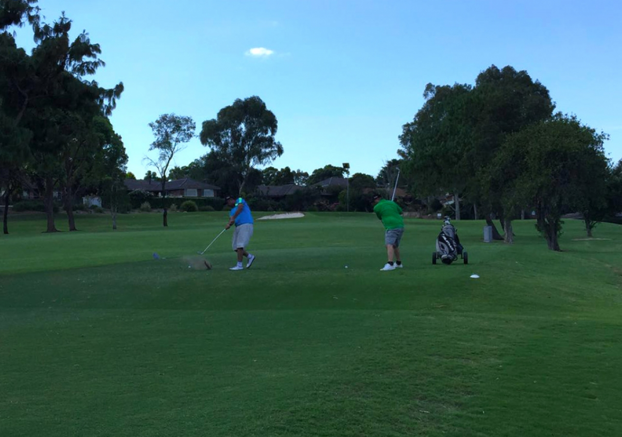 Teeing off at the golf course on day 1 of the 2016 ANZ IST. Melbourne would later score the first gold medal of the games. ANZ-IST2016