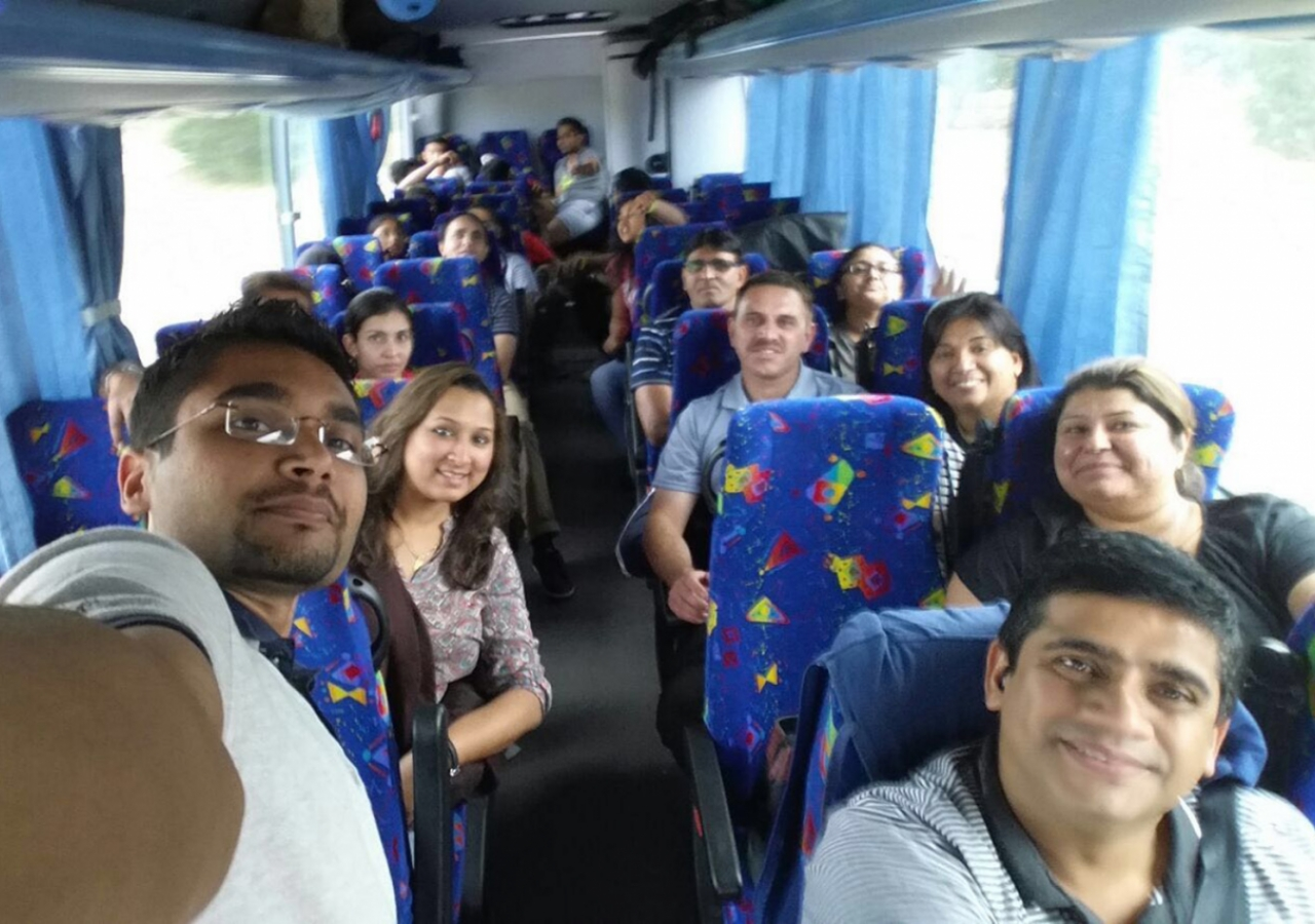 A busload of Jamati members travel from Melbourne for the 2016 ANZ Ismaili Sports Tournament in Sydney. ANZ-IST2016