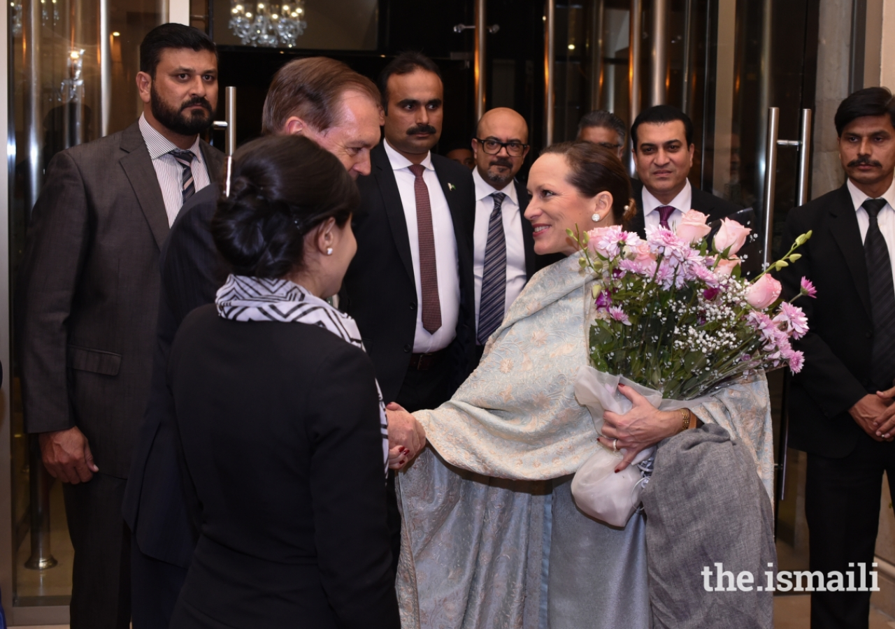 Princess Zahra is greeted upon her arrival in Islamabad