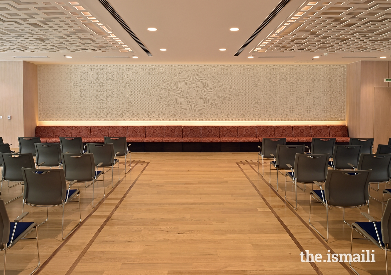 The multipurpose room at the Ismaili Jamatkhana and Centre, Khorog, to be used for lectures, presentations, social events, and other gatherings.