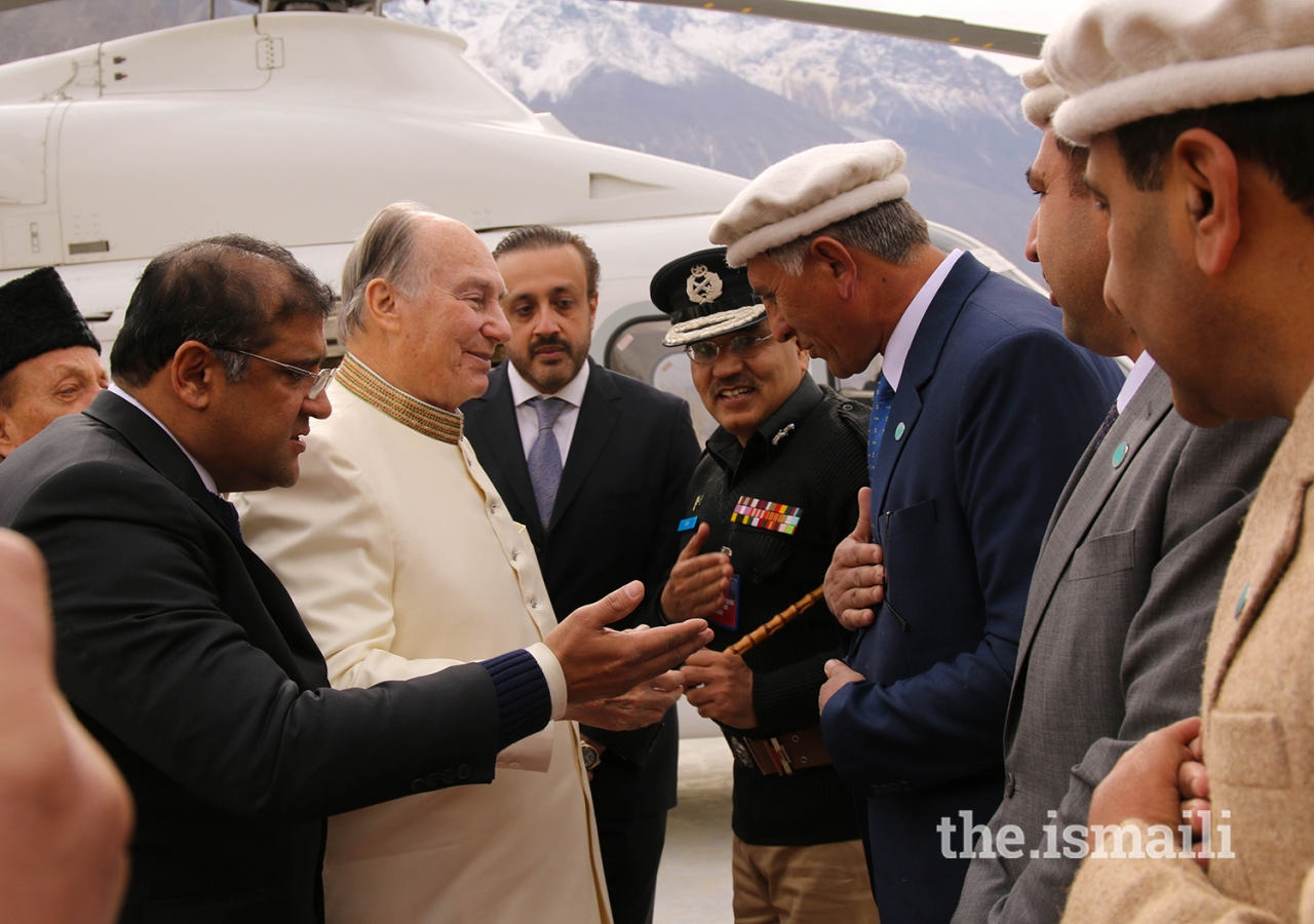 Mawlana Hazar Imam greets local leadership during his departure from the Diamond Jubilee Darbar at Aliabad, Hunza