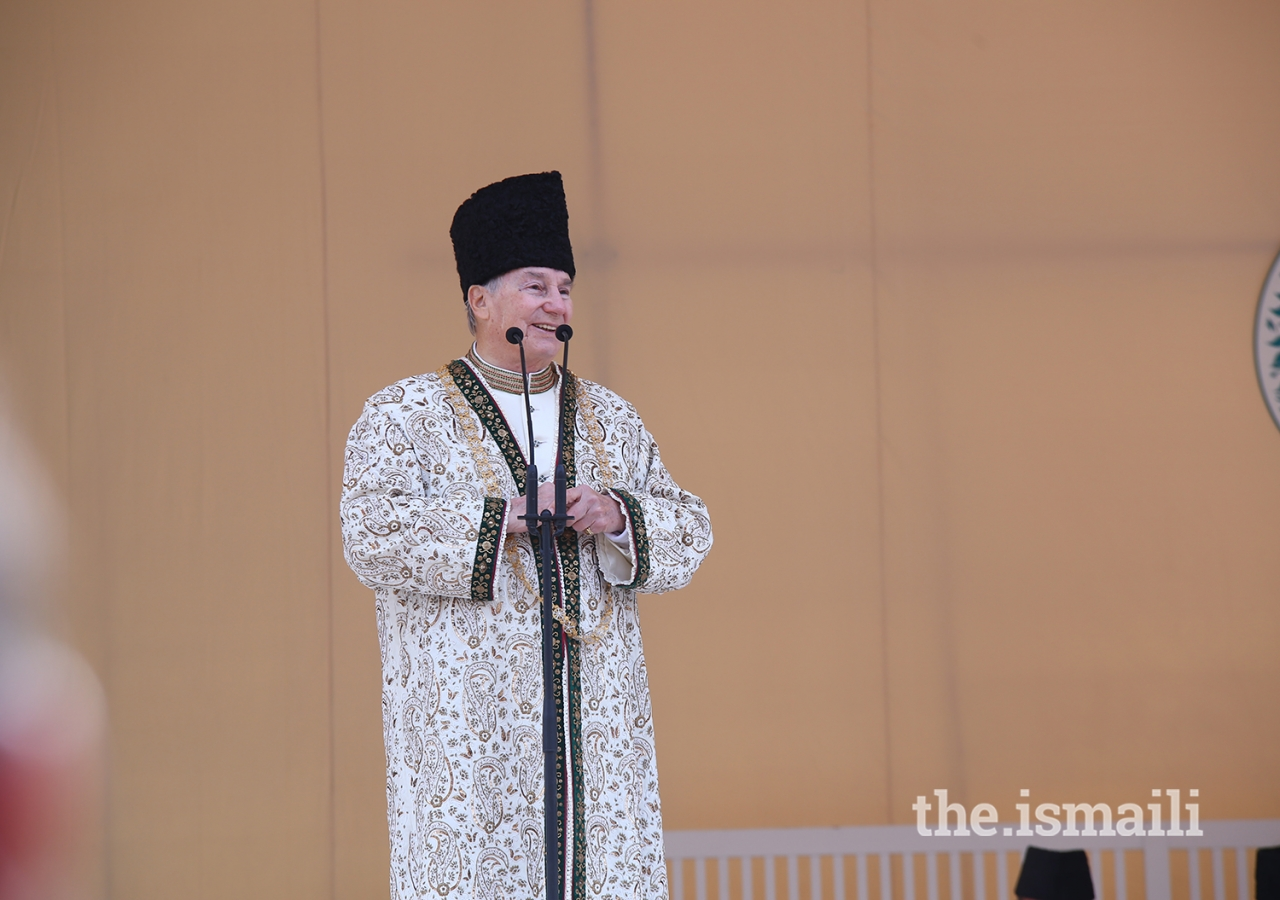 Mawlana Hazar Imam addresses the Jamat at the Diamond Jubilee Darbar at Taus, Yasin