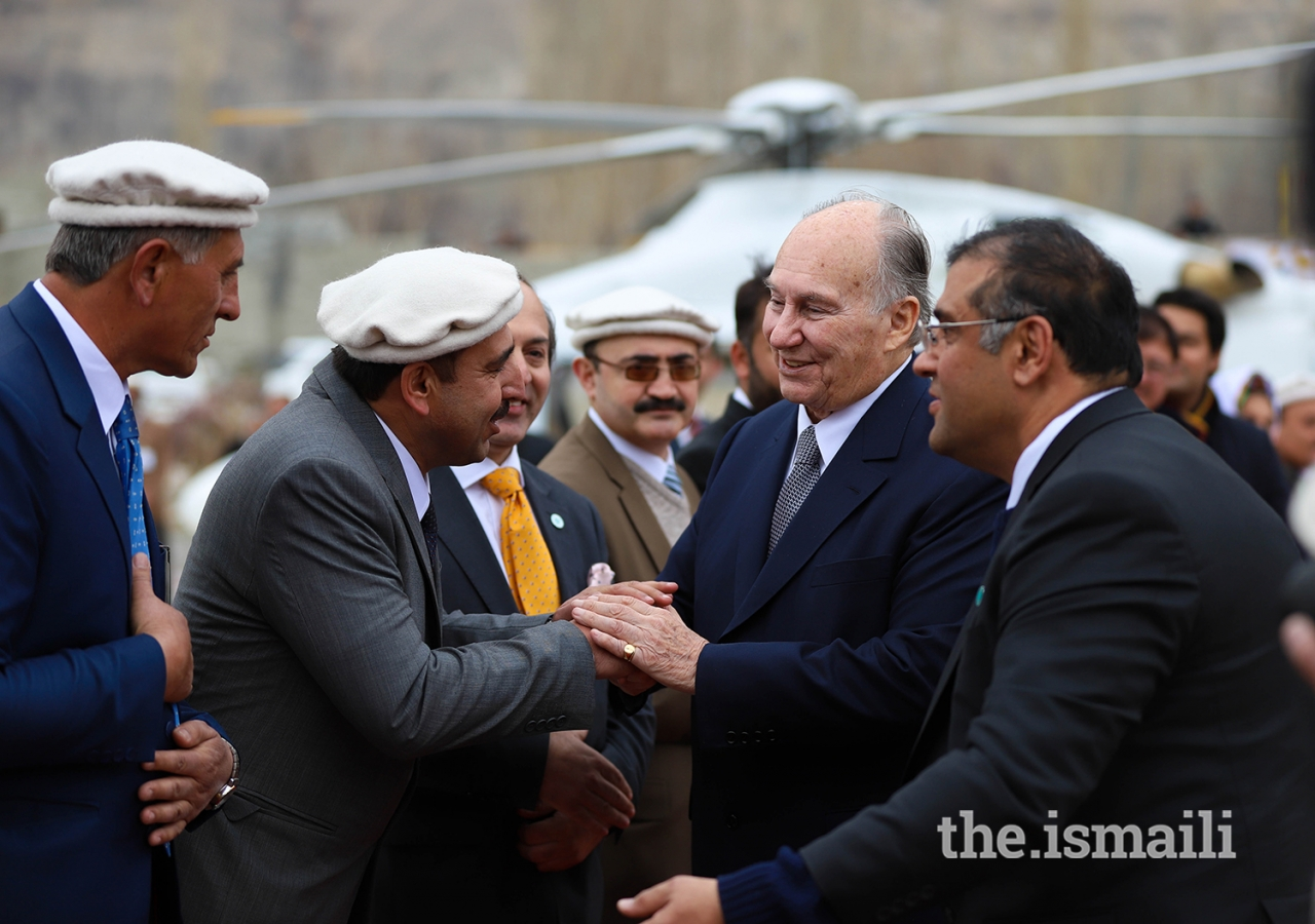 Mawlana Hazar Imam greets local leadership upon his arrival at the Diamond Jubilee Darbar at Aliabad, Hunza