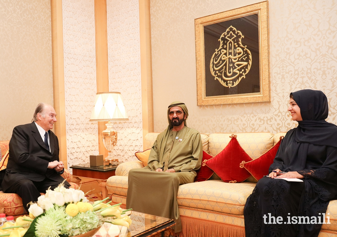 Mawlana Hazar Imam in discussions with His Highness Sheikh Mohammed bin Rashid Al Maktoum and Her Excellency Reem Bint Ebrahim Al Hashimy at Zabeel Palace during his Diamond Jubilee visit to the United Arab Emirates.