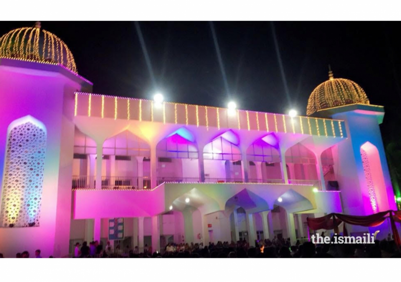 The Jamat celebrates at Karimabad Jamatkhana in Surat, Gujarat.