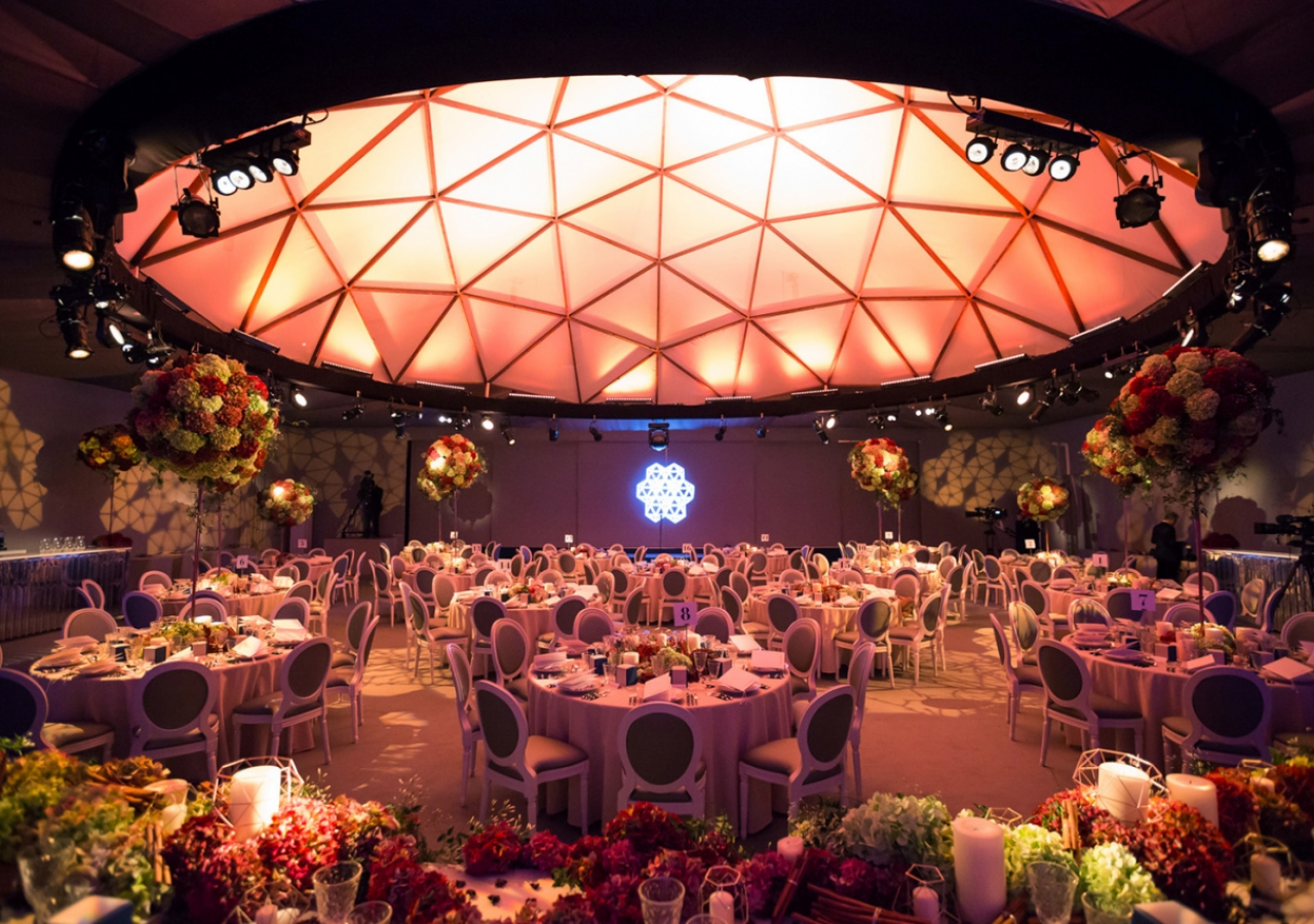 Designed specially for the celebration of Mawlana Hazar Imam's 80th birthday, this centre piece of the venue comprised a geodesic dome. Neither of the East nor of the West, the dome is an ancient symbol of Divine shelter, care and guidance. Farhez Rayani