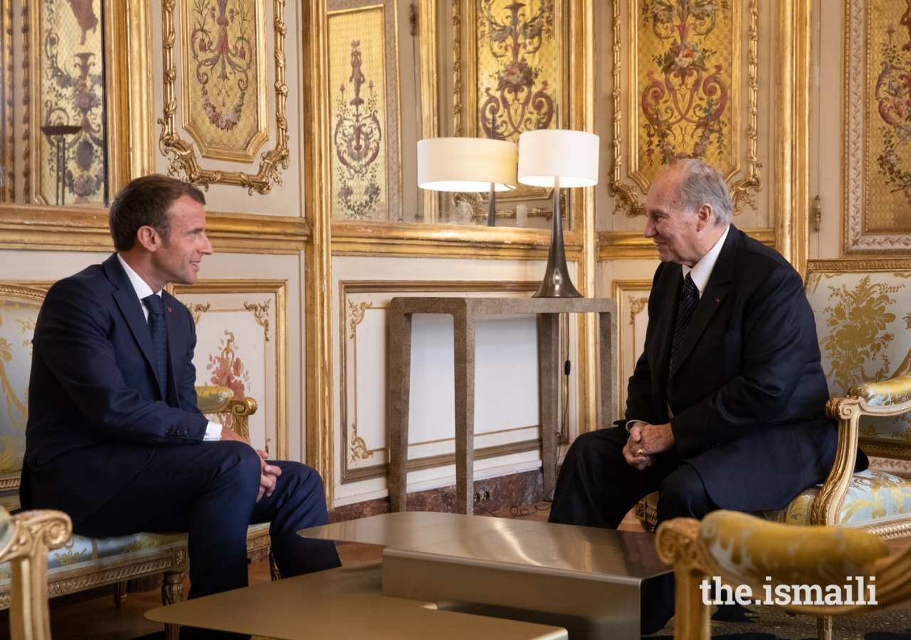 President Emmanuel Macron and Mawlana Hazar Imam in a one-on-one meeting at the Élysée Palace.