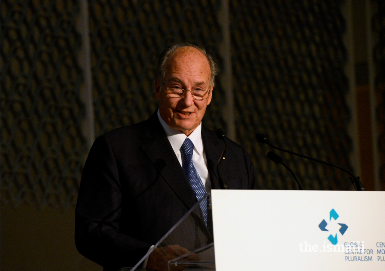 Mawlana Hazar Imam delivers remarks during the ceremony, The Global Centre for Pluralism was founded as a partnership between Mawlana Hazar Imam and the Government of Canada.
