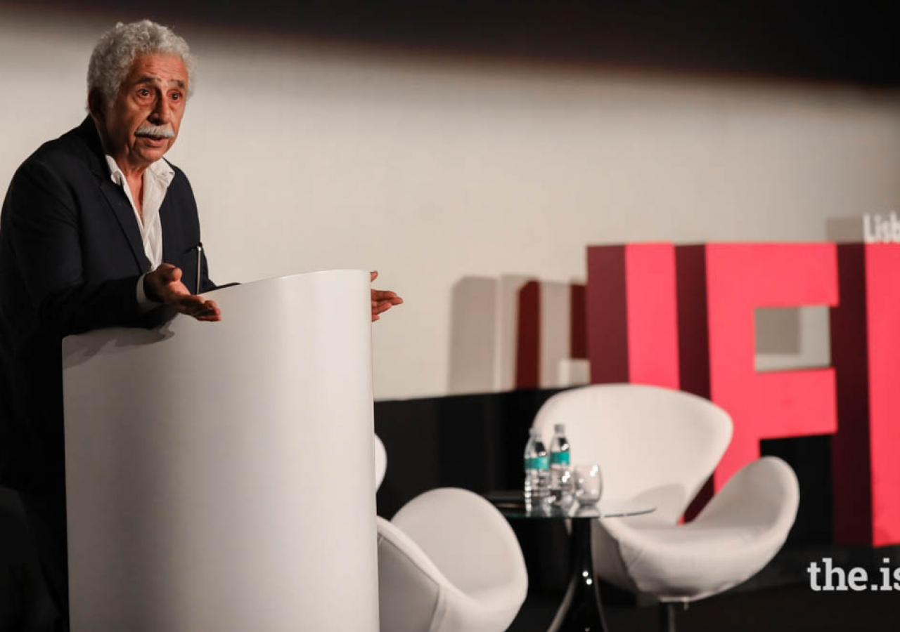 Bollywood actor, Naseeruddin Shah, addresses the audience at the International Film Festival Keynote.