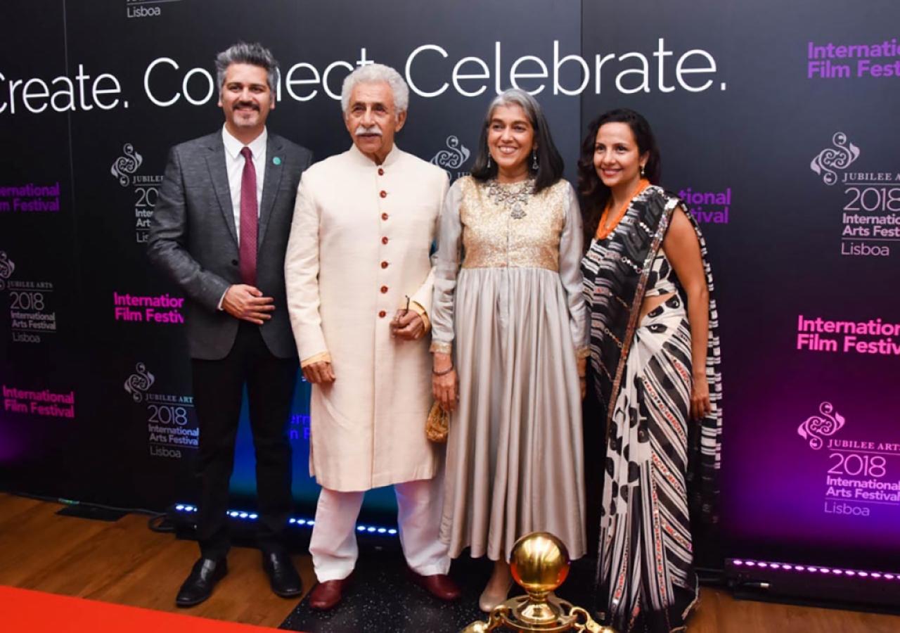 From left to right: Farhez Rayani, Director of the International Film Festival; Actor Naseeruddin Shah; Actress Ratna Pathak; Salima Jiwani Daya, Deputy Director of the International Film Festival.