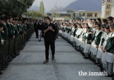 Students of the Aga Khan Higher Secondary School in Gahkuch, Ishkoman Puniyal, Gilgit-Baltistan welcome Prince Aly Muhammad upon his arrival