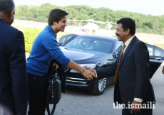 Prince Aly Muhammad meets Tariq Mahmood, President, Ismaili Council for Central Region, before departing for Gilgit