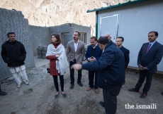 Prince Rahim and Princess Salwa visit transitional shelters being constructed by the Aga Khan Agency for Habitat (AKAH) in the aftermath of heavy flooding which submerged farmland and destroyed houses in the villages of Badswat and Bilhanz, located in Immit, Ishkoman Valley, Ghizer District in Gilgit-Baltistan. In July 2018, unusually warm weather precipitated intensified melting of snow and glaciers which resulted in a large glacial lake outburst flood (GLOF).