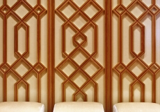 Geometric patterns inspired by the traditions of Islam are repeated in interior decor.