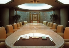 The centrepiece of the Council Chambers is a Carrara marble table from Italy.