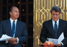Mawlana Hazar Imam seated together with Prime Minister Brian Mulroney at the opening of the Ismaili Centre, Vancouver.