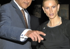 Ismaili Council for Canada Vice-President Malik Talib with Princess Khaliya, pointing out details of interest on the architectural model of the Wynford Drive projects.
