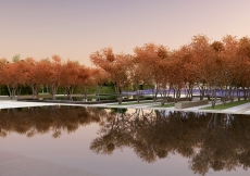 Artist rendering of an autumn view of the formal garden adjacent to the Ismaili Centre, Toronto.