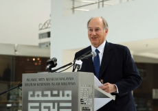 "Mawlana Hazar Imam addresses guests gathered for the opening of ""Treasures of the Aga Khan Museum: Architecture in Islamic Arts"" at the Islamic Arts Museum Malaysia."